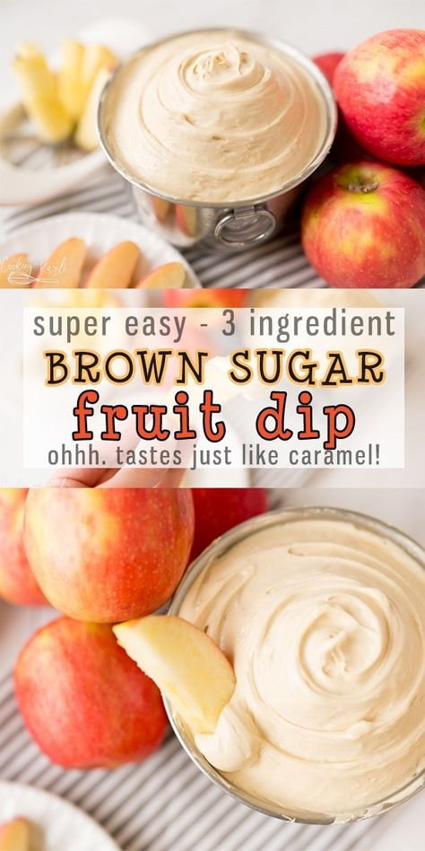 Fruit dips recipes - Easy Fruit Dip is a 3 ingredient dip perfect for Apples, Strawberries, Bananas Any fruit you can think of! Brown Sugar, Vanilla and cream cheese is all it takes! It tastes just like caramel, too! Dessert Dips, Köstliche Desserts, Delicious Desserts, Yummy Food, Yummy Yummy, Tasty, Mixed Fruit Jam Recipe, Fruit Et Passion, Easy Fruit Dip