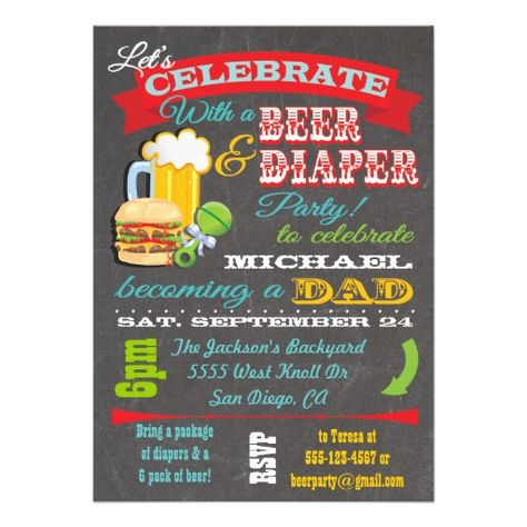 "Super cool and modern Dad to be baby shower party. Celebrate with beer, burgers and have your friends bring diapers and beer as a gift to the party. Fun typography against a black chalkboard background. Hand drawn illustration by McBooboo. Please contact me with any changes, questions or if you need something custom!  Please see matching diaper raffle ticket below:  <div style=""text-align:center;line-height:150%""> <a ..."
