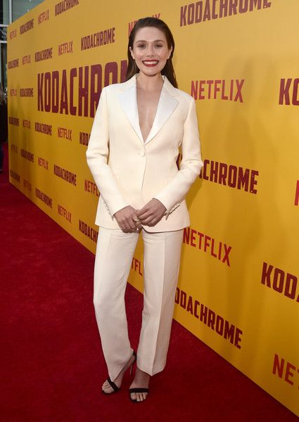 Elizabeth Olsen attends the premiere of Netflix's 'Kodachrome' at ArcLight Cinemas.
