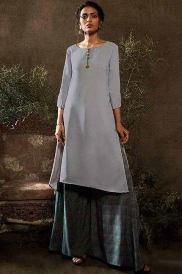 Cotton Linen Red wine Traditional Kurti with detailed Thread Embroidery comes with pant  Diwali Festival Dress  Indian Dress  Party Wear