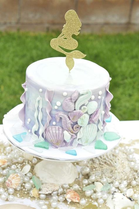 Lovely cake at a Little Mermaid birthday party! See more party planning ideas at CatchMyParty.com!