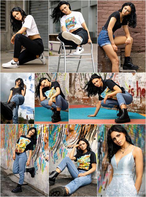 Senior girl style | Dr. Martens | Docs | Street Style | Graphic Tee | Prom Dress | Urban style | Graffiti Wall | Senior Poses | Girl Poses