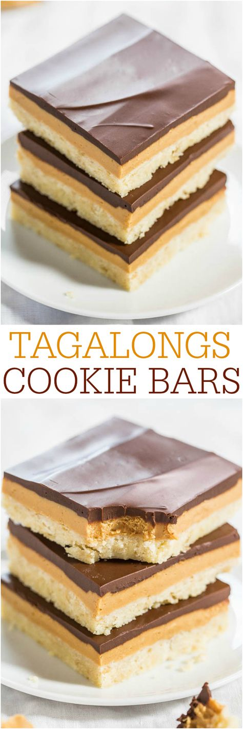 Tagalongs Cookie Bars - Say hello to year-round Girl Scout Cookie Season with these delish bars! All the flavors of the classic cookies in easy bar form!