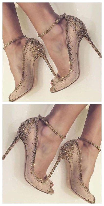 Golden Dress Shoes Rhinestone Rivet