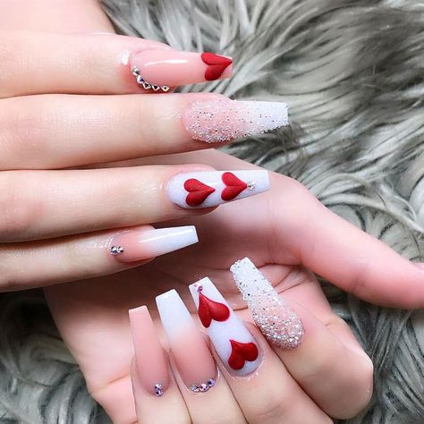 36 Acrylics Long Coffin Nails With Sparkle To Copy These trendy Nails ideas would gain you amazing compliments. Red Acrylic Nails, Summer Acrylic Nails, Gel Nails, Cnd Shellac, Manicures, Nail Polish, Valentine's Day Nail Designs, Cute Acrylic Nail Designs, Heart Nail Designs