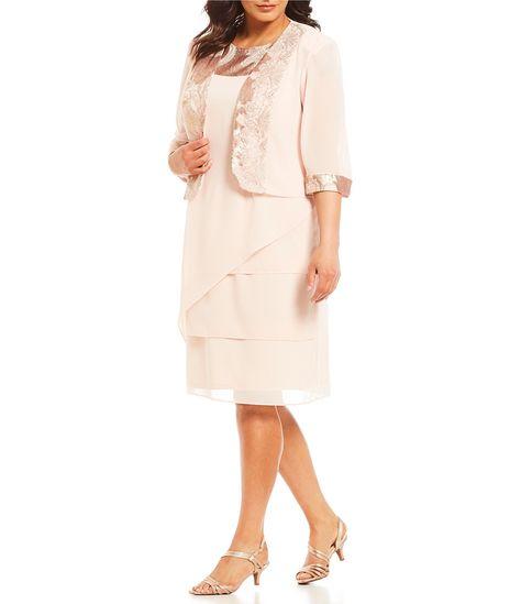 aa2f9ce2881f4 Le Bos Plus Size 2Piece Trim Detail Jacket Dress  Dillards