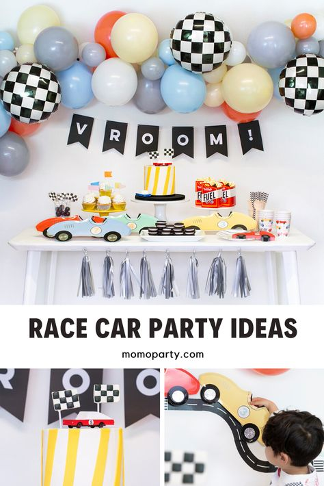 Modern party decoration ideas for kid& race car themed birthday. Check out our car collection for the themed party supplies and decorations. 4th Birthday Party For Boys, Race Car Birthday, Cars Birthday Parties, Birthday Party Decorations, Party Centerpieces, Kid Parties, Mouse Parties, Car Themed Birthday Party, Party Themes For Kids