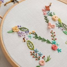 Floral Alphabet Embroidery PDF Pattern + Video Tutorial, Instant Digital Download, Letter Embroidery Design with Flowers, Floral Monogram