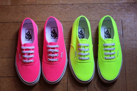 shoes, vans, sneakers, neon, yellow, soles, colorful