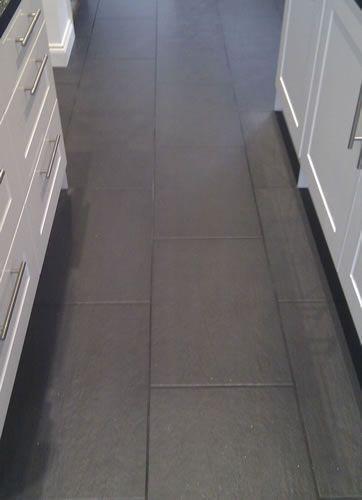 Slate Nero Floor Tiles With Dark Anthracite Grout Kitchen Floor