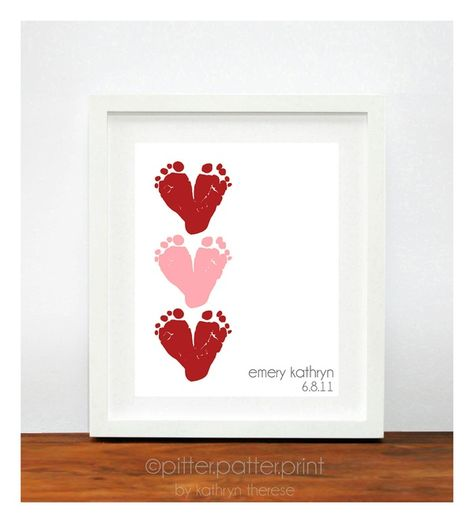 Cute V-Day gift idea for grandma with a picture on the side. Red Pink Heart Valentines Day Gift for New Dad - Baby Footprint Hearts Valentine Decor, Decoration - New Grandma Personalized Gift. $35.00, via Etsy.
