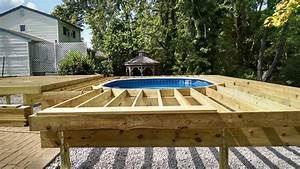 Two Tier Deck With Above Ground Pool Round Designs Deck Design
