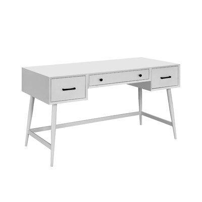 George Oliver Deshaun 3 Drawer Writing Desk Wayfair White Desks Writing Desk Office Furniture Modern
