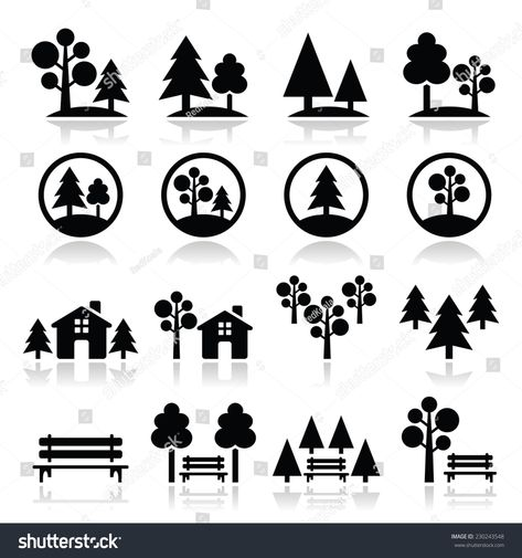 Trees Forest Park Vector Icons Set Sponsored Ad Park Forest Trees Set Piktogramm Wald