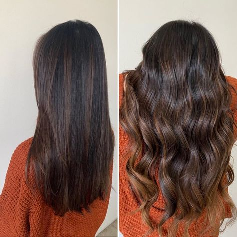 May 2020 - Hair goals for real! Use Luxy Hair Extensions in Dark Brown Highlights to get this dreamy hair color. Highlights For Dark Brown Hair, Brown Hair Balayage, Light Brown Hair, Hair Color Balayage, Brunette Highlights Lowlights, Dark Hair With Lowlights, Dark Brown Long Hair, Dark Fall Hair, Babylights Brunette