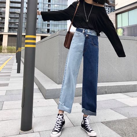 tide blue high waist patchwork hit color detachable fake two piece jeans - BeFashionova - Source by inthemoood - Wide Jeans, Wide Leg Denim, Loose Jeans, Jeans Pants, Denim Jeans, Mom Jeans, Jeans Dress, Cropped Jeans Outfit, Grunge Jeans