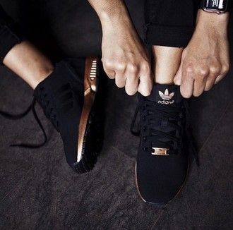 961d22d29e adidas shoes addias shoes black and gold adidas rose gold gold tennis shoes  sneakers trainers black dress all black and gold wishlis…