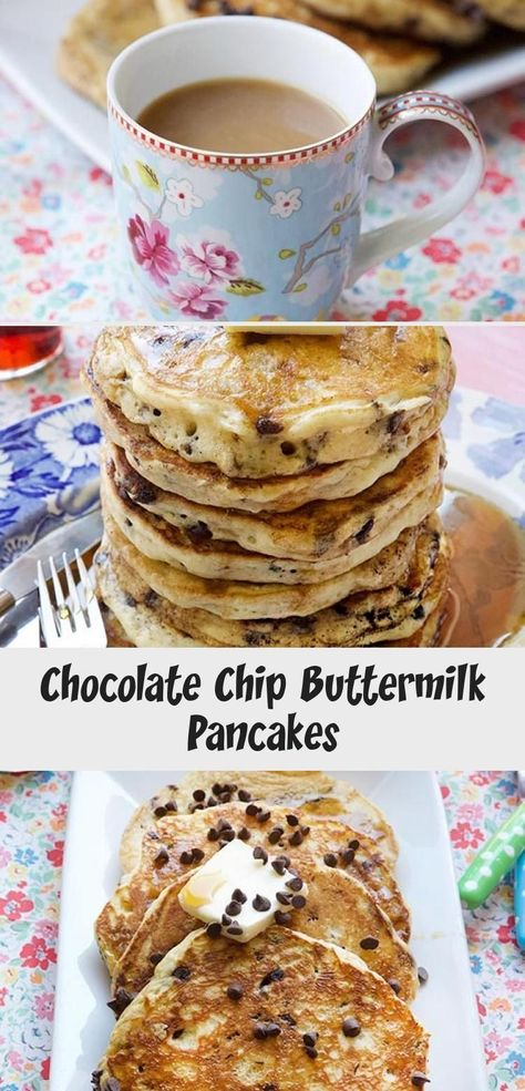 Over the weekend you MUST make a stack of these CHOCOLATE CHIP BUTTERMILK PANCAK...  #Buttermilk #Chip #chocolate #Pancak #Stack #weekend