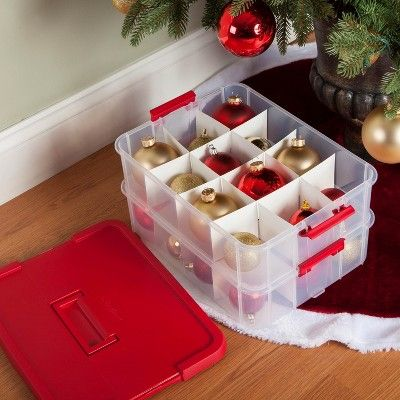 Sterilite 14276604 24 Compartment Christmas Ornament Storage Box