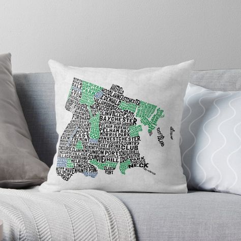 New York State Map Throw Pillow Cover