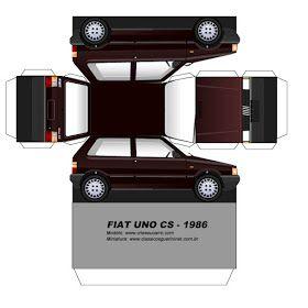 Sp Papel Modelismo Papercraft Fiat Uno Cs 1986 Fiat Uno Paper Model Car Paper Car