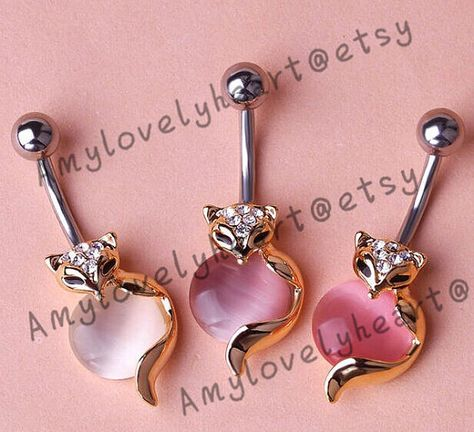 The fox Diamond Belly Button Ring ,316L Belly Ring ,Color Button Ring, Belly Button Ring,Belly Button Piercing