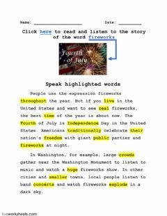 Word Fireworks And Its Story 5 Language English Grade Level Grade 6 8 School Subject English As A Secon Parts Of Speech Words English As A Second Language