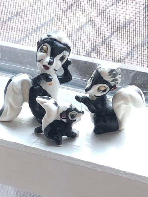 Excited to share this item from my #etsy shop: Skunk Family Figurines - Vintage Black and White Statues