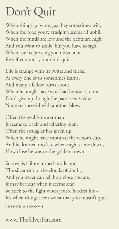 Never Give Up - Ive included this poem in cards (encouragement, sympathy…