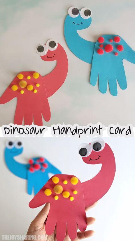 Cute handprint card for father's day. Easy diy card for father's day. #thejoyofsharing #fathersdayideas #fathersdaycard #dinosaur #handprintart via @4joyofsharing