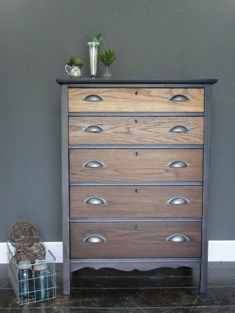 SOLD Antique oak ombre stained chest of drawers by TRWpainted