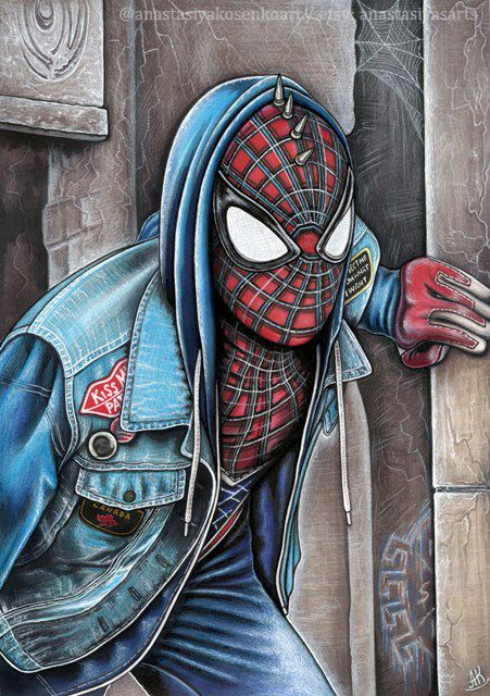 Print Art Gift Spider Punk Spider Man Fanart Poster Marvel Avengers Superhero Ps4 Geek Comic Book Spider Verse Drawing Wall Art Spiderman Marvel Spiderman Poster Prints