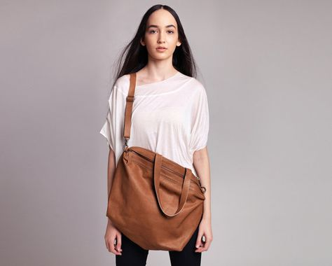 Brown Leather Bag Women Weekend  Bag Tote by CyanByMiriWeiss