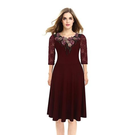 0b0344d09b107 LaceShe Women's Delicate 3/4 Sleeve Party Lace Dress | Products ...