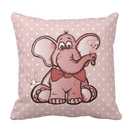 Elephant and Friends Nursey Throw Pillow