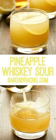 Refreshing 3 ingredient pineapple whiskey sour recipe from Rachel {Baked by Rach… – Cocktail Whiskey Cocktails, Cocktail Drinks, Cocktail Recipes, Whiskey Mixed Drinks, Cocktail Night, Bourbon Drinks, Scotch Whiskey, Irish Whiskey, Margarita Recipes