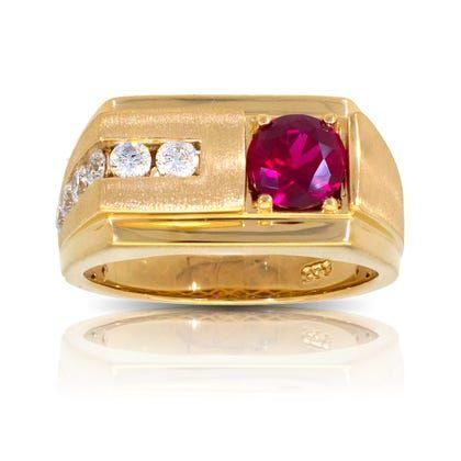 Men S Round Created Ruby Diamond Ring In 10k Yellow Gold In 2020 Ruby Diamond Rings Rings For Men Sparkle Diamonds