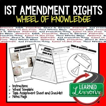 1st Amendment Rights Activity Wheel Of Knowledge Knowledge