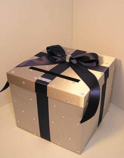 Wedding Quinceanera Sweet 16 Card Box Silver Gift Card Box Money