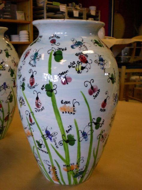 Thumbprint art is always a big hit also. The the selling point is what you create your art on....these vases are perfect. Consider large flower pots, urns, tables, etc.
