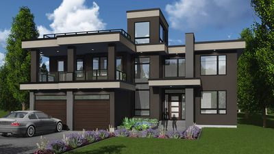 Plan 81683ab Modern House Plan With Roof Top Deck Modern Style