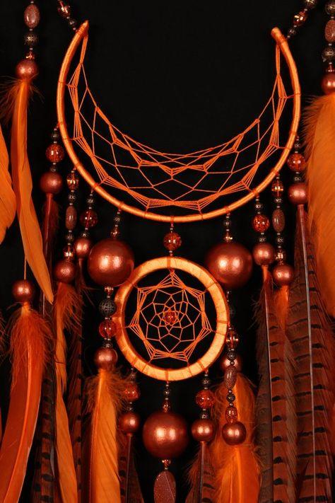dreamcatcher - Arrow Dreamcatcher Moon Dreamcatcher Orange dreamcatcher sun dreamcatcher copper dream catchers native american Indian talisman boho decor