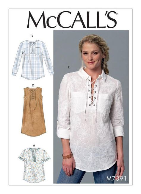 Purchase McCall's 7391 Misses' Laced or Split-Neck Tops and Dress and read its pattern reviews. Find other Dresses, Tops,  sewing patterns.