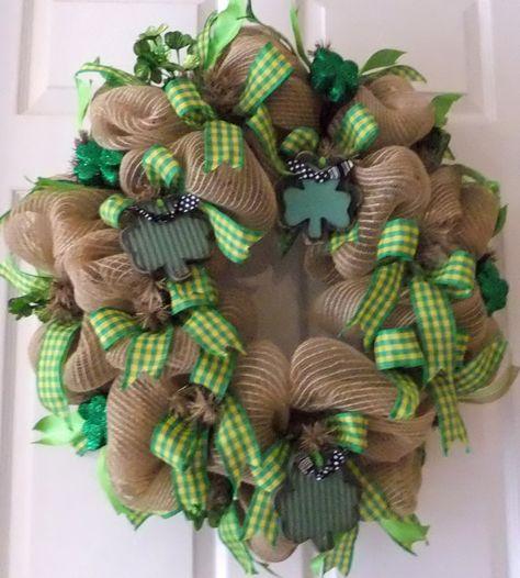 St. Patricks Day Wreath with Shamrocks Happy by PJCreativeWreaths, $67.50