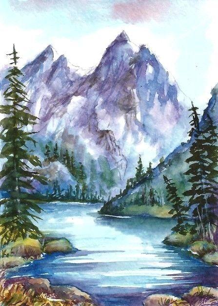 Aceo Original Mountain River Painting Woodland Landscape Watercolour Art Card Art Miniature Watercolor Landscape Woodland Art Daisy Painting