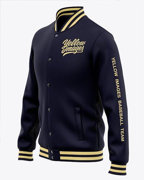 Download Men S Varsity Jacket Mockup Front Half Side View Present Your Design On This Mockup Includes Special Varsity Jacket Clothing Mockup Baseball Bomber Jacket