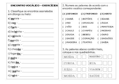 Varal De Atividades Encontro Vocalico Exercicios Tritongo