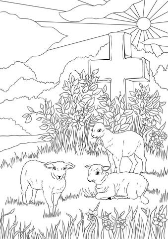Easter Lambs And Jesus S Cross Coloring Page Cross Coloring Page