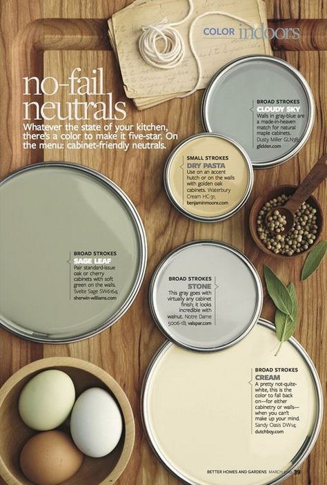 No fail neutral paint colors. Great neutral colors that can be used on walls and cabinets. You can't go wrong with these neutral paint colors. Waterbury Cream HC-31 Benjamin Moore. Dusty Miller Glidden. Svelte Sage SW6164 Sherwin Williams. Notre Dame by Valspar. Sandy Oasis DW14 Dutch Boy. #WaterburyCreamHC31BenjaminMoore #SvelteSageSW6164SherwinWilliams #NotreDamebyValspar #DustyMillerGlidden #Nofailneutrals #nofailpaintcolors no-fail-neutral-paint-colors Via Better Homes and Gardens.