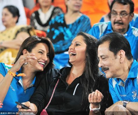 Diana Hayden, Sania Mirza and Subroto Roy during the match between Sunrisers Hyderabad and Pune Warriors, in Hyderabad. — at Salt Lake Stadium.